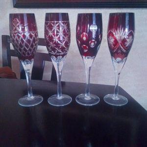 Burgundy Champagne flutes